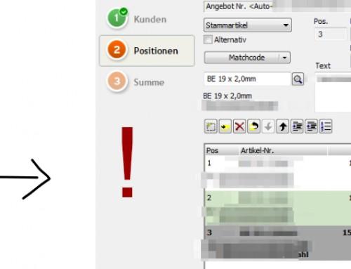 Lexware: Positionen bei Rechnung automatisch nummerieren bei hinzufügen oder entfernen von Positionen